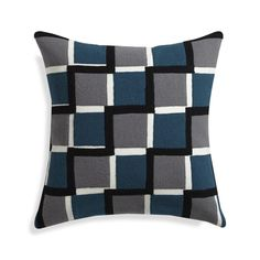 Old London's cobblestone streets go graphic in designer Suki Cheema's abstract update crafted of slubby cotton appliquéd with knitted wool felt squares.  Cool grey and blue palette mixes with bold black and white for a bold, optic look and mid-century modern feel.  Pillow reverses to solid teal.