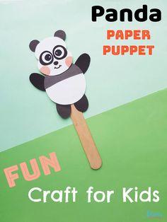 Panda Paper Puppet Craft for Kids   Animal Crafts for Kids  #easycrafts #pandas #funstuff Paper Animal Crafts, Sea Animal Crafts, Animal Crafts For Kids, Craft Projects For Kids, Crafts For Kids To Make, Animals For Kids, Craft Ideas, Kids Crafts, Fun Activities For Kids
