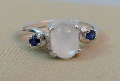 Moonstone and Sapphire Ring in Sterling by LindasJewelryShopLLC