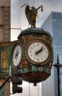 """gatsbywise: """"Dating circa 1926, the Father Time clock situated at the Northeast corner of the iconic Jewelers' Building in Chicago —35 East Wacker Drive— was a gift from the Elgin Watch Company. The bronze casting of Father Time on top is the logo of..."""
