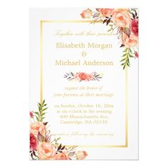 Rustic Orange Floral Chic Gold White Fall Wedding Invitation