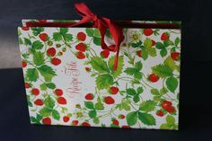 Strawberry Print Vintage Recipe Organizer File, 6 Lableled Compartments