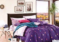 Polka dots on purple sheet 100% Cotton bedsheet