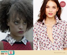 Remy's red polka dot button back sweater and printed shirt on Ravenswood. Outfit Details: http://wornontv.net/21532 #Ravenswood