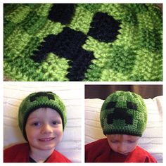 Minecraft Creeper Crochet Youth Hat PATTERN