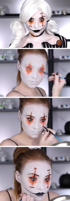 ▷ 1001 + Halloween make-up tips that are perfect for your healthy skin .- ▷ 1001 + Halloween Schminktipps, die für Ihre gesunde Haut sorgen halloween-make-up tips-clown-woman-make-up-harley-quinn-idea-white-blond-hair-big-mouth - Diy Halloween Costumes For Women, Halloween Makeup Looks, Easy Halloween, Youtube Halloween, Halloween Makeup Tutorials, Halloween Party, Clown Makeup Tutorial, Clown Costume Women, Clown Costumes