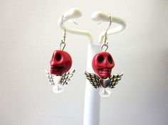 Day Of The Dead Earrings Sugar Skull Wings by sweetie2sweetie