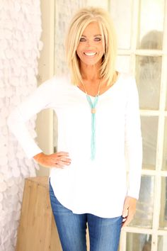 Basically Basic V Neck Long Sleeve T-Shirt ~ White ~ SizesOne Faith Boutique is a women's trendy clothing boutique specializing in clothes for women of all shapes and sizes, including Curvy Styles (Size Medium Hair Styles, Curly Hair Styles, Asymmetrical Bob Haircuts, Cute Haircuts, Hair Starting, Basic Tops, Layered Hair, Hair Today, Fine Hair