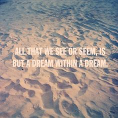 All That We See Or Seem, Is But A Dream Within A Dream -Edgar Allan Poe