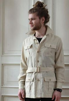 Vintage 1960s Mens Safari Jacket