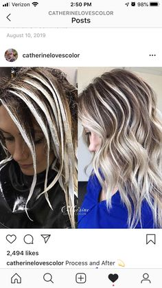 Process and After 💫 What you see is what you get 🖌 . Started with crystal gel treatment to remove hard water 🚿. Blonde Hair Shades, Brown Hair With Blonde Highlights, Hair Highlights, Hair Color For Women, Hair Color And Cut, Love Hair, Gorgeous Hair, Hair Color Placement, Hair Color Formulas