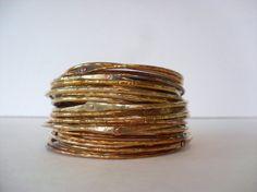 brass bangle bracelets skinny stackable by BlackElephantJewelry, $210.00