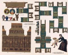 Vintage antique paper doll printable furniture and more