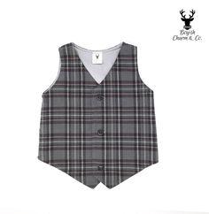 Boys Grey Plaid Vest, Boys Gray Vest, Toddler Grey Vest, Baby Vest, Ring Bearer Outfit, Rustic Wedding Vest, Boyish Charm, Ring Bearer Vest