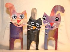 Toilet Paper Roll Cats!  So Cute! #kidscraft #animalcraft #preschoo