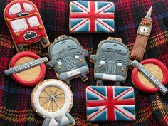 I Love London | Cookie Connection Sugar Cookie Frosting, Royal Icing Cookies, Sugar Cookies, Tea Cakes, Cupcake Cakes, British Cookies, British Party, London Party, Biscuit Cookies