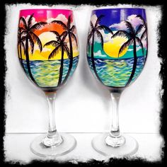 Hand Painted Wine Glasses Hand Painted Palm Tree Glasses Email Seashell And Sand Wine Glasses Decorated Wine Glasses, Hand Painted Wine Glasses, Painted Wine Bottles, Wine Bottle Glasses, Wine Bottle Art, Wine Decanter, Wine Glass Designs, Wine Glass Crafts, Painted Mugs