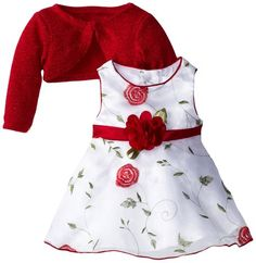 Youngland Baby-Girls Infant Red Sleeveless Embroidered Organza Dress with Shrug, White/Red, 12 Months