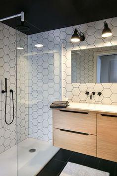 Love these white hexagon tiles amp; the black shower faucet Basement Bathroom, Small Bathroom, Master Bathroom, Bathroom Modern, Bathroom Closet, Bathroom Black, Bathroom Cabinets, Modern Shower, Bathroom Vanities