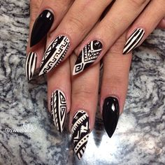 Tribal nails on stilettos! starting to love the tribal designs (if done right!)