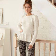 Women's Crewneck Pepum Puover Sweater - A New DayTM