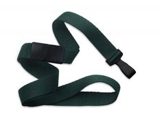 2138-4786 Forest Green Break-Away Extra Wide Flat Microweave Lanyard with Wide Plastic Hook