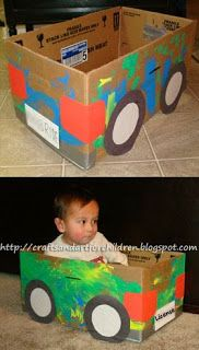 How to make a Cardboard Box Car {Recycled Craft}-good for rainy move day