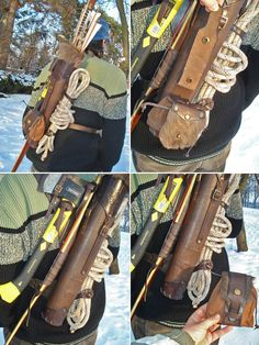 Multifunctional Tooled Leather Quiver Holding a Bow, an Axe, a Knife and a Rope with a Detachable Pouch.