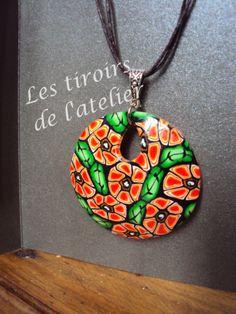 fleurs oranges pendentif pâte polymère (fimo)