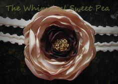 Singed satin taupe and brown Fall headband, baby girl, teen, or adult headband on Etsy, $15.99