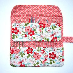 Red Pink Floral Circular Knitting Needle Case Roll Holder