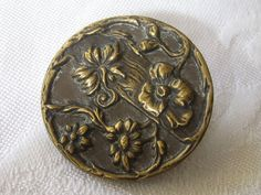 Large ANTIQUE Metal Flower BUTTON by abandc on Etsy