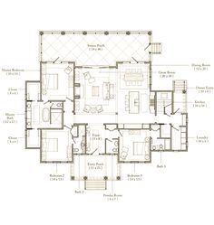 Palmetto Bluff Floor Plan..... This plus a tiny house or shipping container for my business would be a complete dream. Not missing a thing