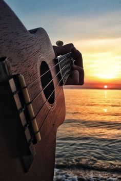 Guitar and sunset