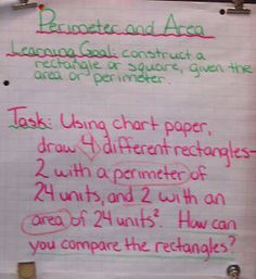 Runde's Room: Three-Part Math Lesson example for area and perimeter.