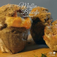 Homemade Bacon & Cheese Bread muffins. Easy Recipe by Little Foods. #Brood #Kaas #Ham #Muffin #Lunch #Recept