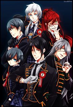 Ciel and Vincent Phantomhive, Sebastian Michaelis, Undertaker, Grell Sutcliffe, and Charles Grey