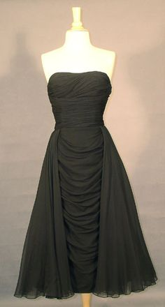Phenomenal Strapless Black Chiffon 1950's Ceil Chapman Cocktail Dress  Item v3765 ... Price: $525 SOLD