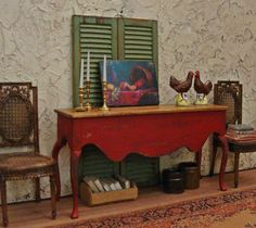Rustic French Country Red Console 1/12th Scale by WestonMiniature