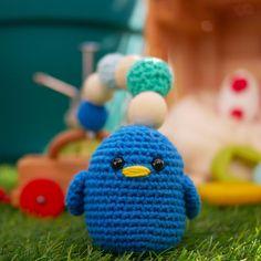 Hochet crochet Oiseau bleu fait main 100% coton Anneau de   Etsy