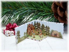 "miniature Christmas gift - box opens to Hansel & Gretel scene - click on words ""pas-en-pas"" to reach full tutorial in French with step-by-step illustrations plus the printie"