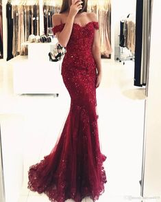 2018 Sexy Prom Dresses Off Shoulder Dark Red Burgundy Hunter Lace Appliques  Beaded Mermaid Long Open Back Evening Dress Party Pageant Gowns 2015 Prom  ... 080eb6803998
