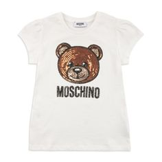 f4d825ee1 Girls Sequin Teddy Bear T-Shirt - Cream by Moschino | Girls T-Shirts