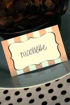 Free Printables - name cards for each girl to do pictures evening of bachelorette party and morning after