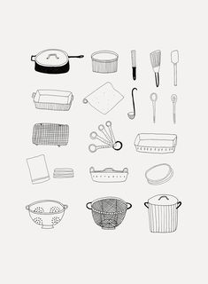 Ryn Frank is a freelance illustrator, specialising in hand drawn illustrations. Simple Illustration, Ink Illustrations, Kitchen Logo, Calligraphy Doodles, 3d Art Drawing, Bullet Journal Notes, Collage Design, Aesthetic Stickers, Kitchen Utensils