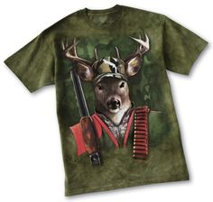 Colorful artwork of a buck all decked out in hunting gear on a background of dark green camouflage. Price: $11.99