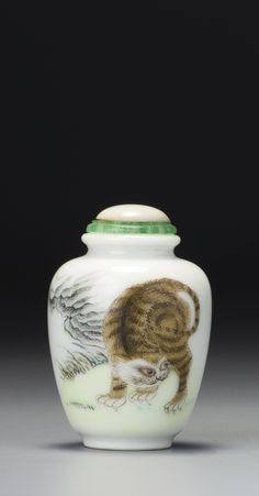 A FAMILLE-ROSE PORCELAIN 'TABBY CAT' SNUFF BOTTLE QING DYNASTY, DAOGUANG / XIANFENG PERIOD