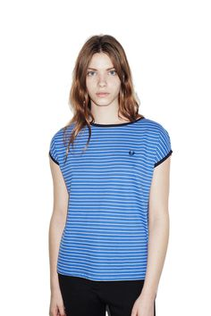 Fred Perry - Classic Stripe T-Shirt Refresher Blue