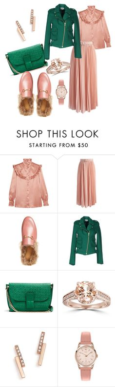"""""""New trend :green"""" by elvira-lela ❤ liked on Polyvore featuring Yves Saint Laurent, Chicwish, Gucci, CYCLE, Loewe, Bliss Diamond, ZoÃ« Chicco, Henry London, GREEN and newtrend"""