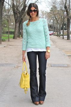 mint green sweater + jeans= love for in between end of summer, and early fall